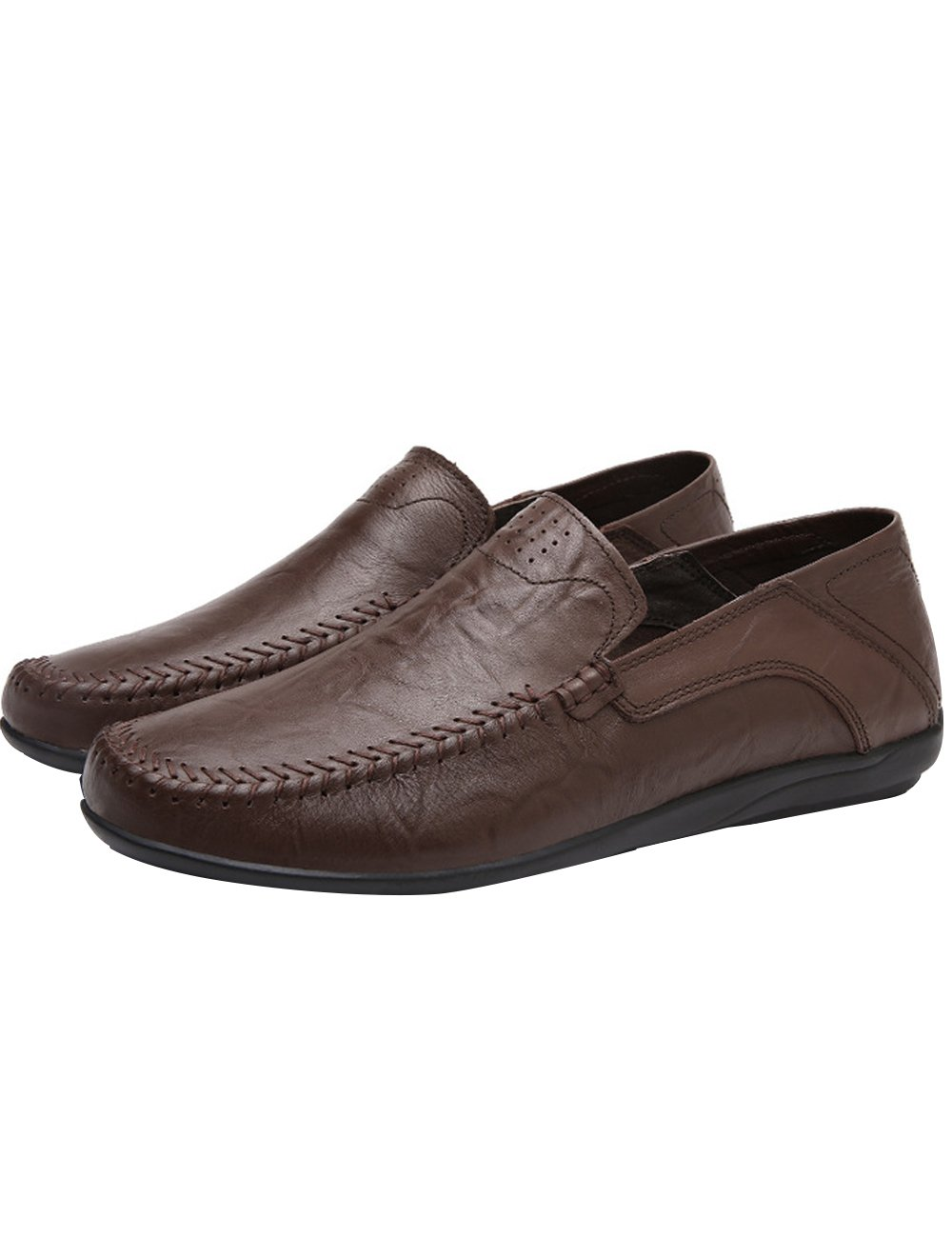 Menschwear Men's Genuine Leather Casual Loafers Shoes Slip-On Skate Shoes 13 M US|Dark-brown-tx8008
