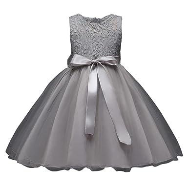 6eb9932ea5c48 Oyedens Robe de Filles Soirée Enfants Filles Broderie Robe de Princesse Fille  Robe de Cérémonie Mariage