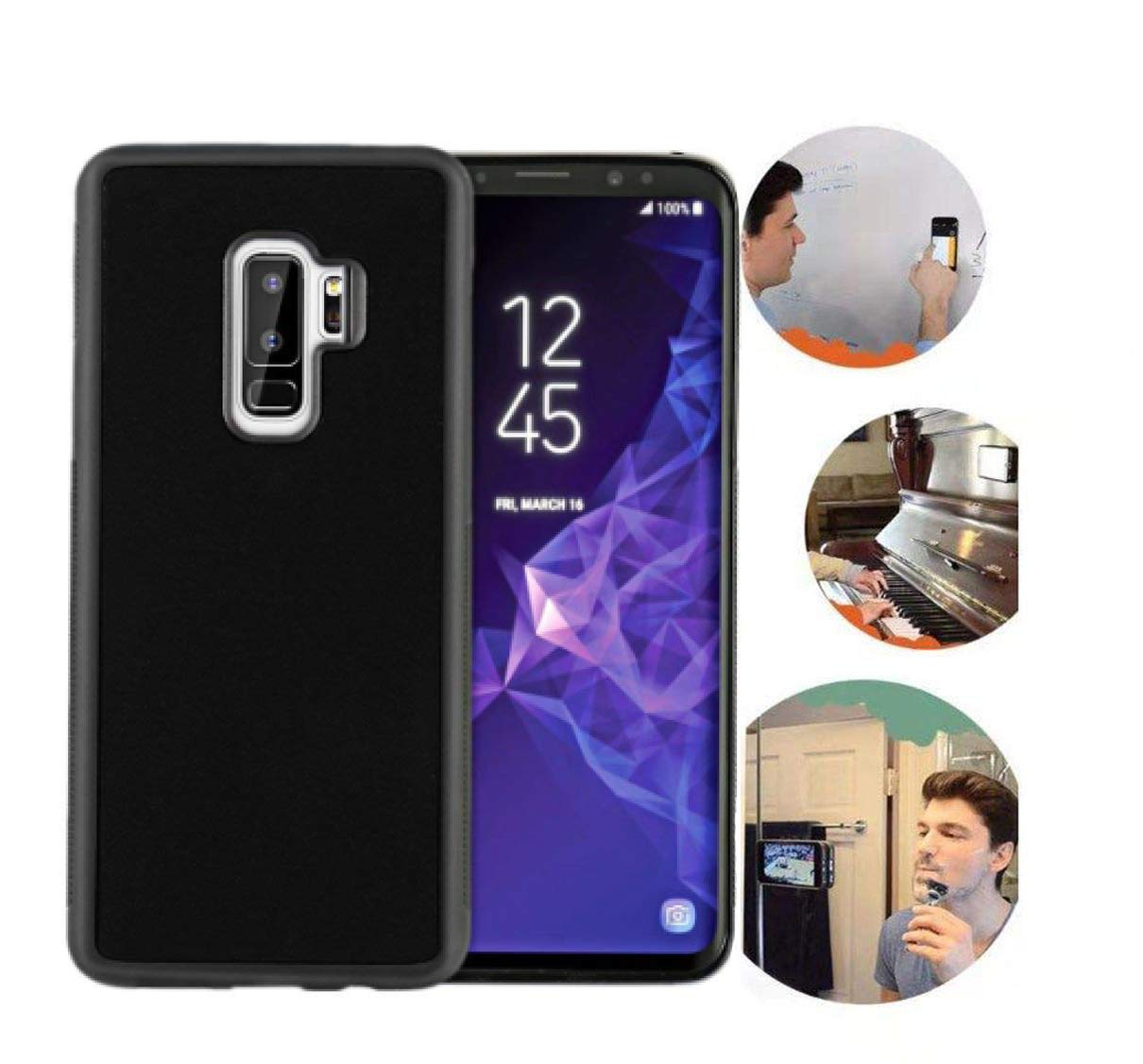 Wingcases for Samsung Galaxy S9 Plus Case, Anti Gravity Black Case Magic Nano Sticky Case for Galaxy S9 Plus 6.2 inch Suction Stick on The Wall Selfie ...