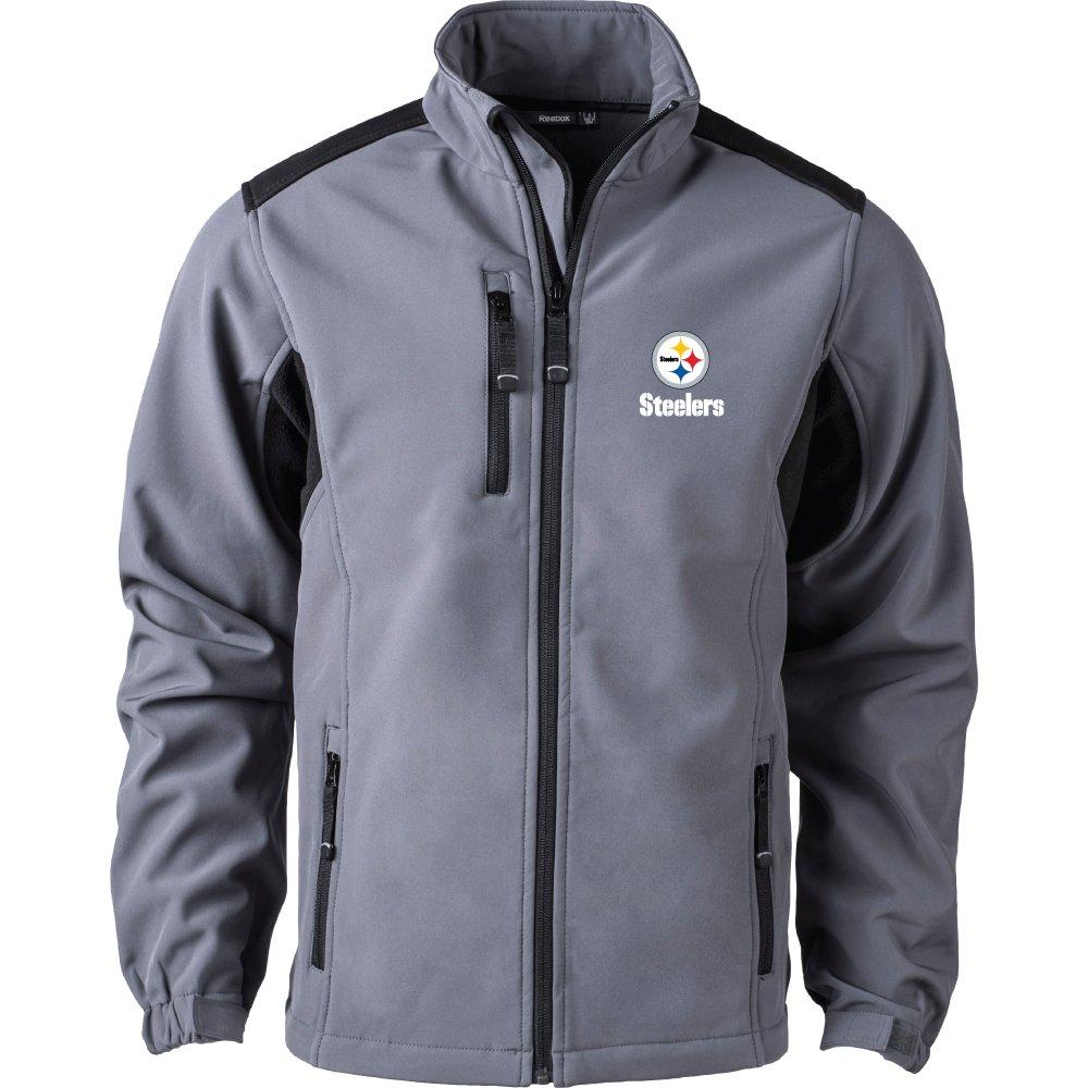 NFL Pittsburgh Steelersメンズソフトシェルジャケット、Large、ブラック   B06X9LYNQ8