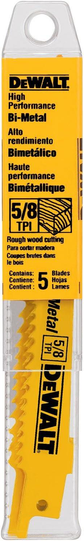DEWALT DW4849 12-Inch 5/8 TPI Taper Back Bi-Metal Reciprocating Saw Blade (5-Pack)