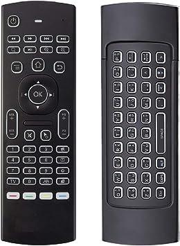 Air Mouse MX3 Mini teclado inalámbrico, 2.4G retroiluminado Fly Air Mouse Control remoto, control remoto por infrarrojos Aprendizaje Fit Android Smart ...