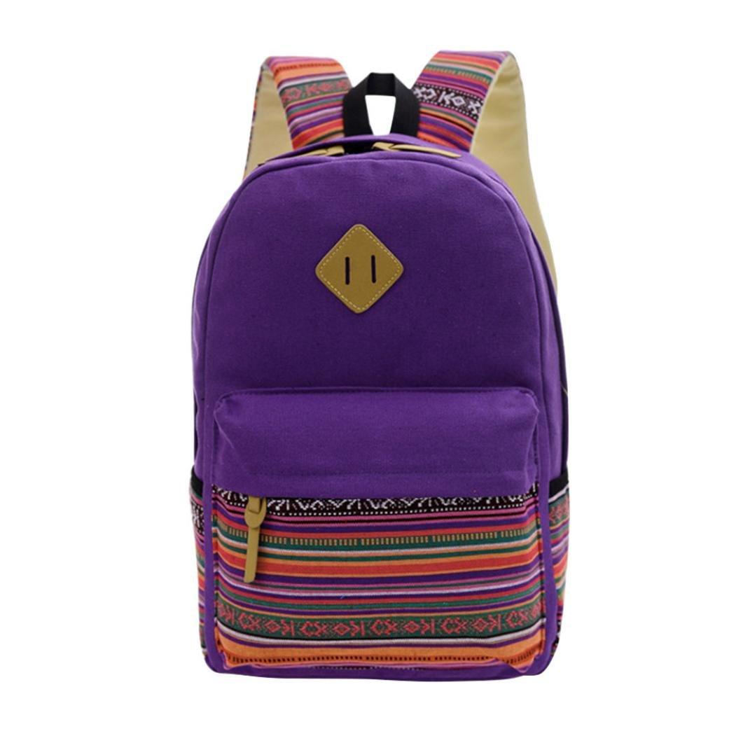 VIASA New Womens Girls Fashion Canvas Vintage Backpack Rucksack College Shoulder School Bag (Purple)