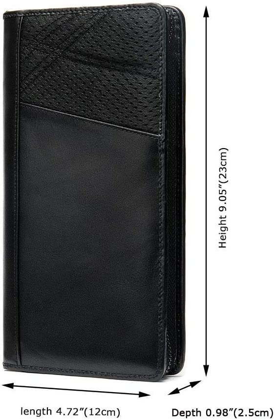 Lydianzishangwu Mens Wallet Passport Bag Fashion Long Hand Bag Top Layer Cowhide Multi-Function Card Package Color : Black, Size : S