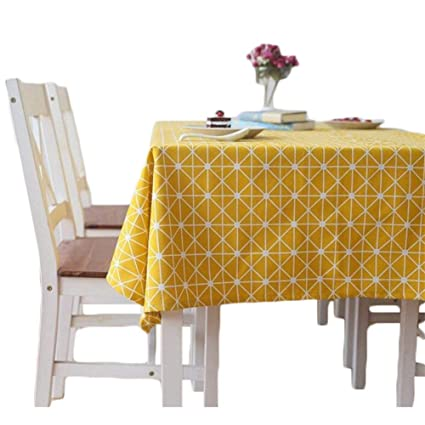 "Meiosuns Tablecloths Cotton Linen Tablecloth Simple Style Twill Tablecloths Multi-Purpose Indoor and Outdoor (Yellow, 36""x36"") best square tablecloth"