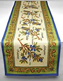 "Mediterranean, Tuscan Olive Cloth Table Runner, Italian Design, Blue, Green, Yellow, Home Decor, 90"" X 16"""