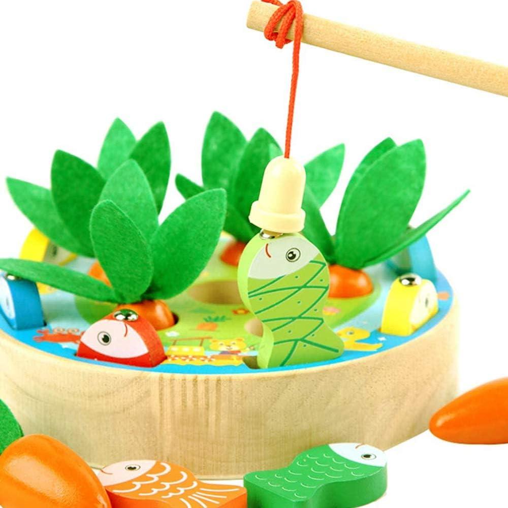 Afufu Juguetes Bebes 1 2 3 4 5 Años, Juguete Montessori Tire Zanahoria Clasificación Pesca Juegos, Rompecabezas Juego de Madera, Educativos/Cumpleaños/Navidad Regalo para Niños Infantil y Bebés