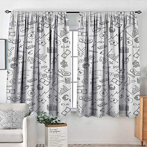- Theresa Dewey Blackout Curtains Money,Monochrome Pattern with Euro Dollar Yen Symbols Coins Piggy Bank Stock Graphs Doodle, Black White,for Bedroom&Kitchen&Living Room 55
