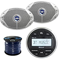 JBL PRV-175 Gauge Style Marine Boat Yacht Digital Media Bluetooth Audio Stereo Receiver Bundle Combo With 2x JBL MS9520 6x9 2-Way White Coaxial Marine Boat Speakers + Enrock 50 Foot 16g Speaker Wire