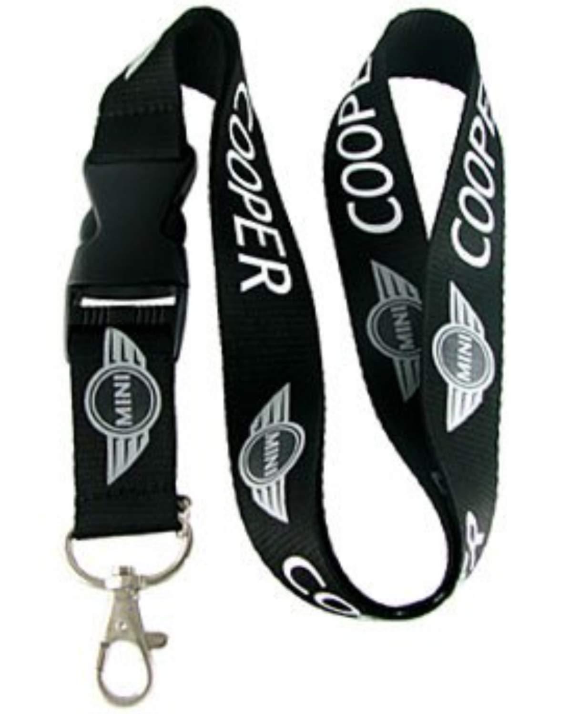 colore: nero Mini Cooper con clip staccabile per chiavi dellauto larghezza 2,5 cm carta didentit/à e tessere Cordino da collo in tessuto per auto