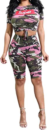 FSSE Womens Super Print Camo Short Sleeve Crop Top & Shorts Outfits Jumpsuits