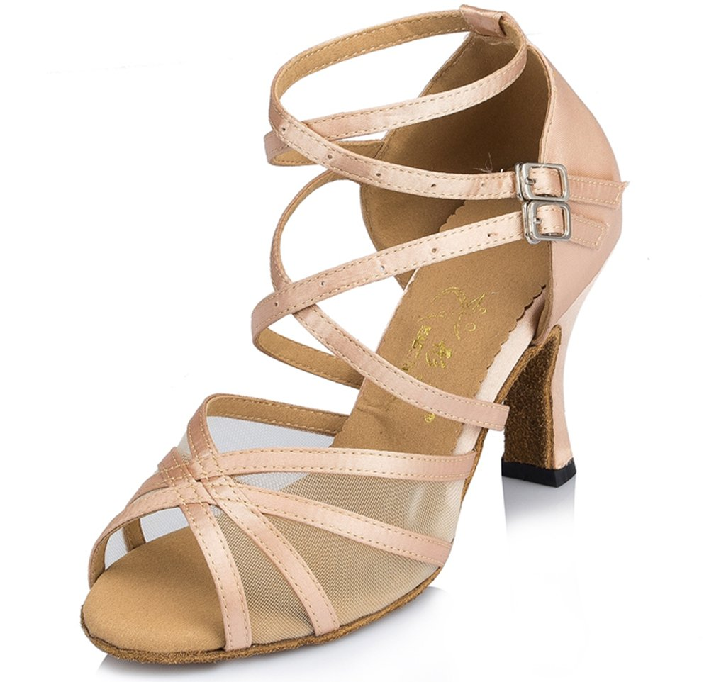 CRC Women's Stylish Peep Toe Mesh Skin Satin Ballroom Morden Salsa Latin Tango Party Wedding Professional Dance Sandals 8 M US