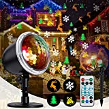 Christmas Projector light, LED Decorative Lights Display with Wireless Remote Control, Waterproof, Colorful & Festive Four Pattern Rotating Effect, Ideal for Xmas Party Yard Garden Decor