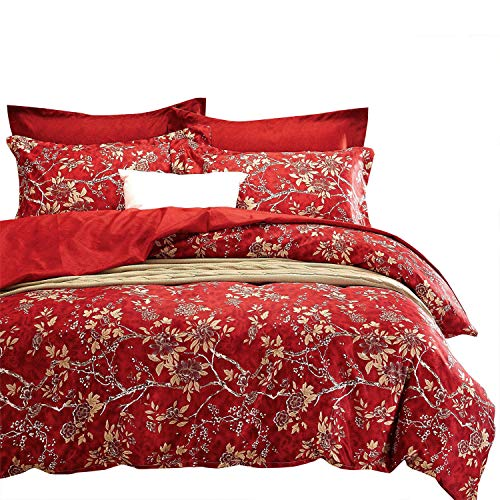 Wake In Cloud - Red Floral Duvet Cover Set, Vintage Flowers Pattern Printed, Soft Microfiber Bedding with Zipper Closure (3pcs, California King Size)
