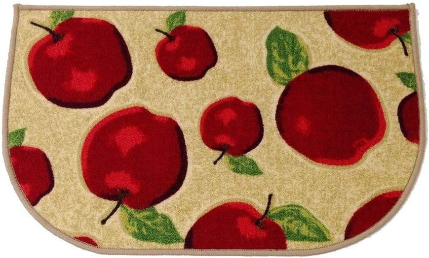 "HIGOGOGO Red Apple Kitchen Area Rugs Mats, D-Ring Non-Slip Rubber Backing Floor Rug and Carpet Kitchen Room Decor, Machine Washable Bathroom Rugs Doormat Foot Pads, 20""x30"""