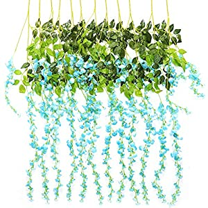TRvancat Artificial Wisteria Hanging Vine 12 Pack 3.6FT/pcs 40