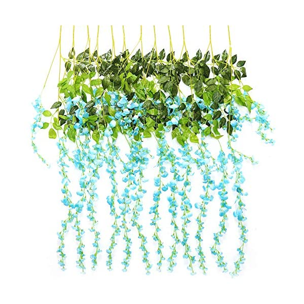 TRvancat Artificial Wisteria Hanging Vine 12 Pack 3.6FT/pcs, Fake Silk Flowers in Natural Chain Garland for Outdoor Wedding Ceremony Arch Party Home Garden Decor (Blue)