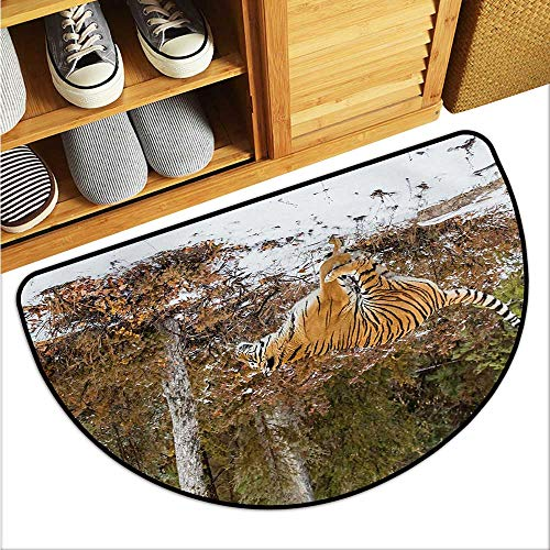 (warmfamily Safari Printed Door mat Bengal Tiger in Snowy Jungle Hunting and Cruising for Prey Furry Majestic Mammal Environmental Protection W23 x L15 Orange Green)