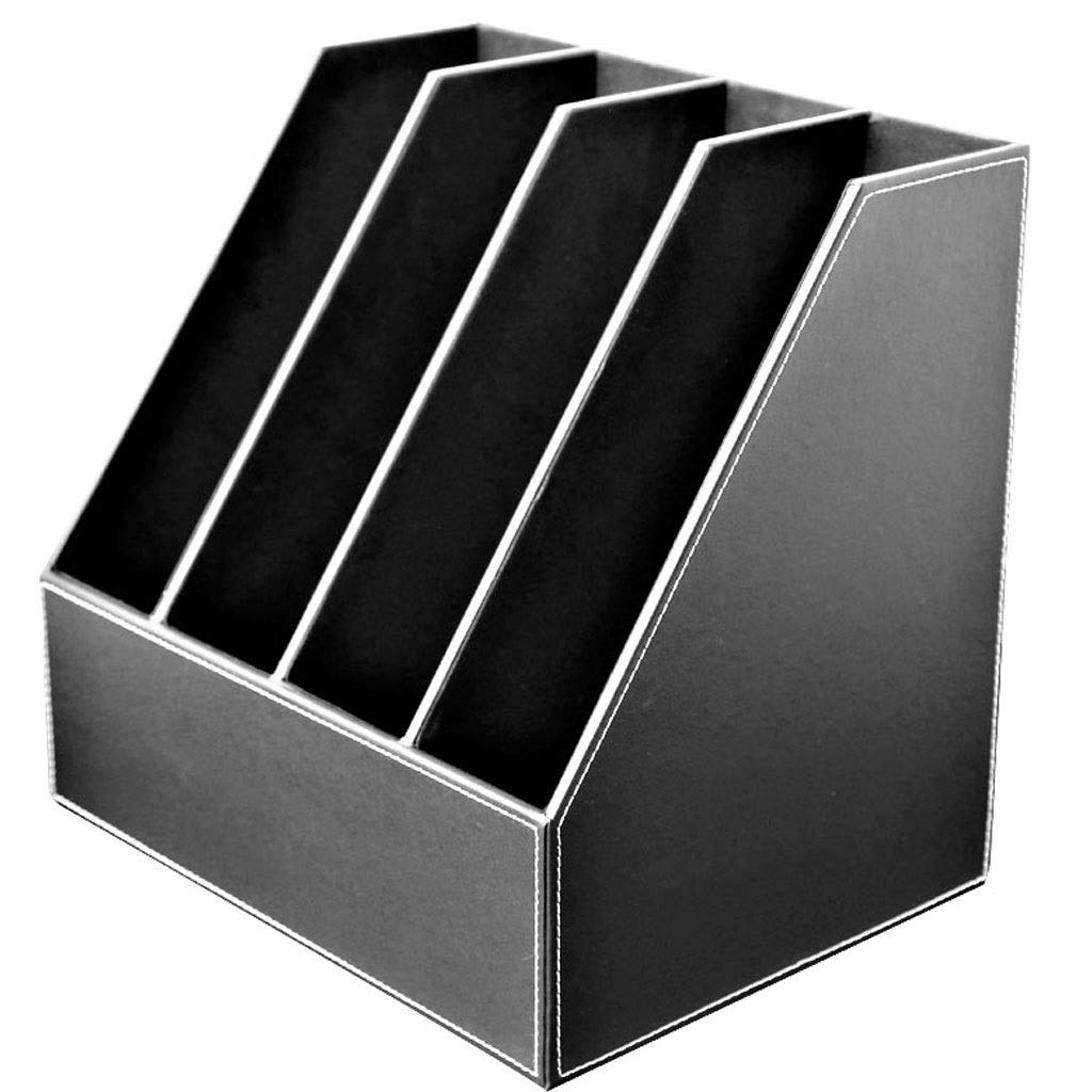 YCYG Desk Organizers, 4 Slot, Made of Leather File Rack Desktop Organizer, Desktop Organization for Home (Color : Black) by YCYG