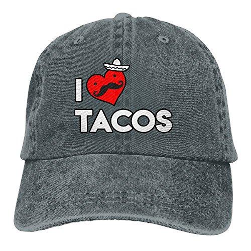 Baseball Cap for Men and Women, I Love Tacos Womens Cotton Adjustable Denim Cap Hat by AJG25_ids