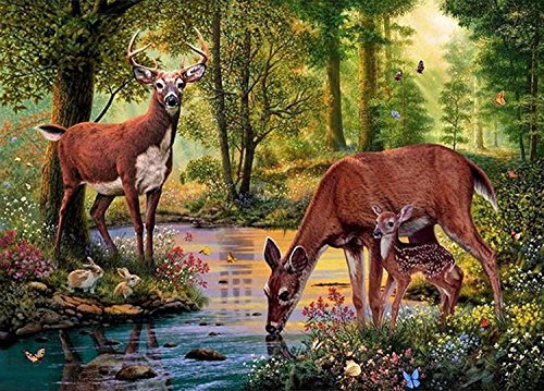 21secret 5D Diamond Diy Painting Full Drill Handmade Deer Parents and Fawn Drinking Water in the Forest Scenic Cross Stitch Home Decor Embroidery Kit