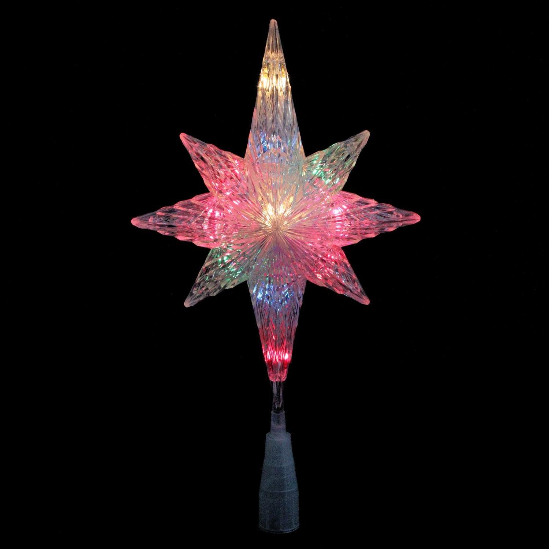 3' Lighted Clear Crystal Star of Bethlehem Christmas Tree Topper - Multi-Color Lights Northlight