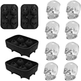 3D Skull Ice Mold-2Pack,Easy Release Silicone mold,8 Cute and Funny Ice Skull for Whiskey,Cocktails and Juice Beverages,Black