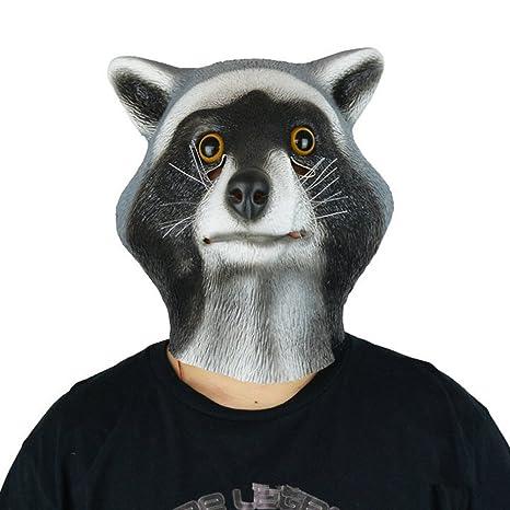 Amazon com: QTMY Latex Rubber Animal Raccoon Mask for