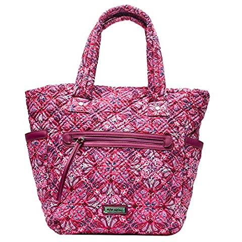 Large Tote Bag Small Laptop Bag Diaper Bag made of Quilted Cotton by Waverly (Pink Quilted Paisley) - Pink Laptop Tote