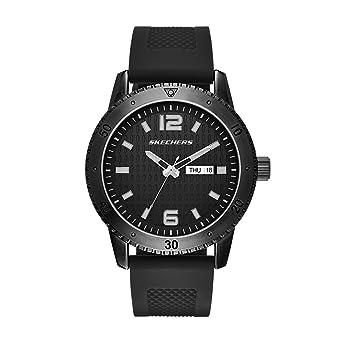 Skechers Mens Redondo Quartz Metal and Silicone Casual Watch Color: Black (Model: SR5000