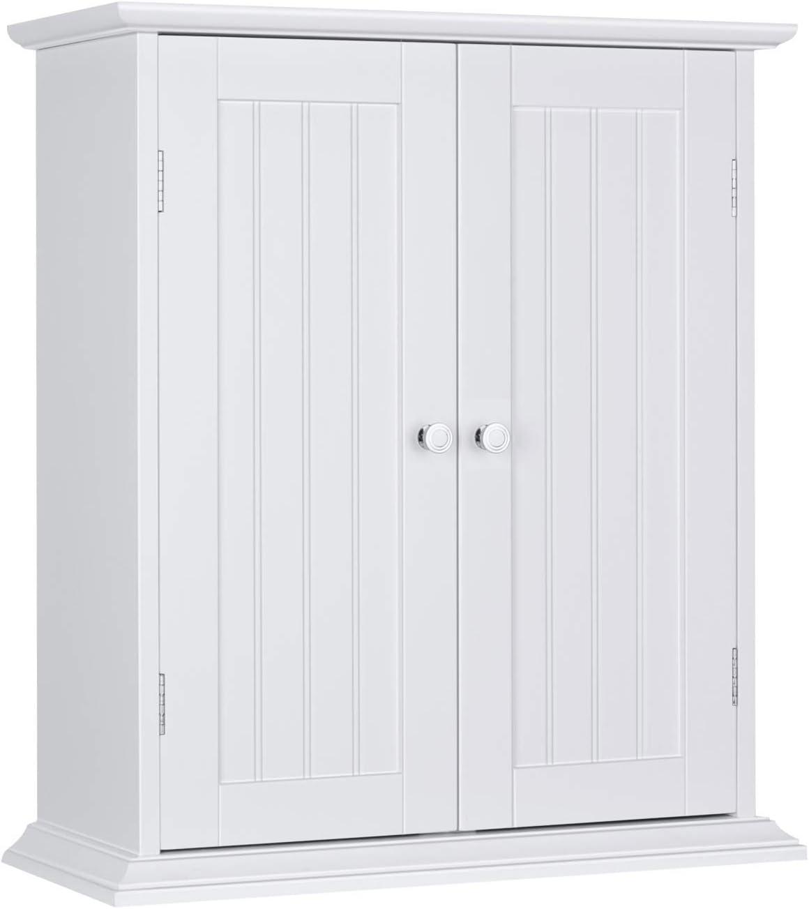 ChooChoo Bathroom Medicine Cabinet 2-Door Wall Cabinet Wood Hanging Cabinet with Adjustable Shelves White