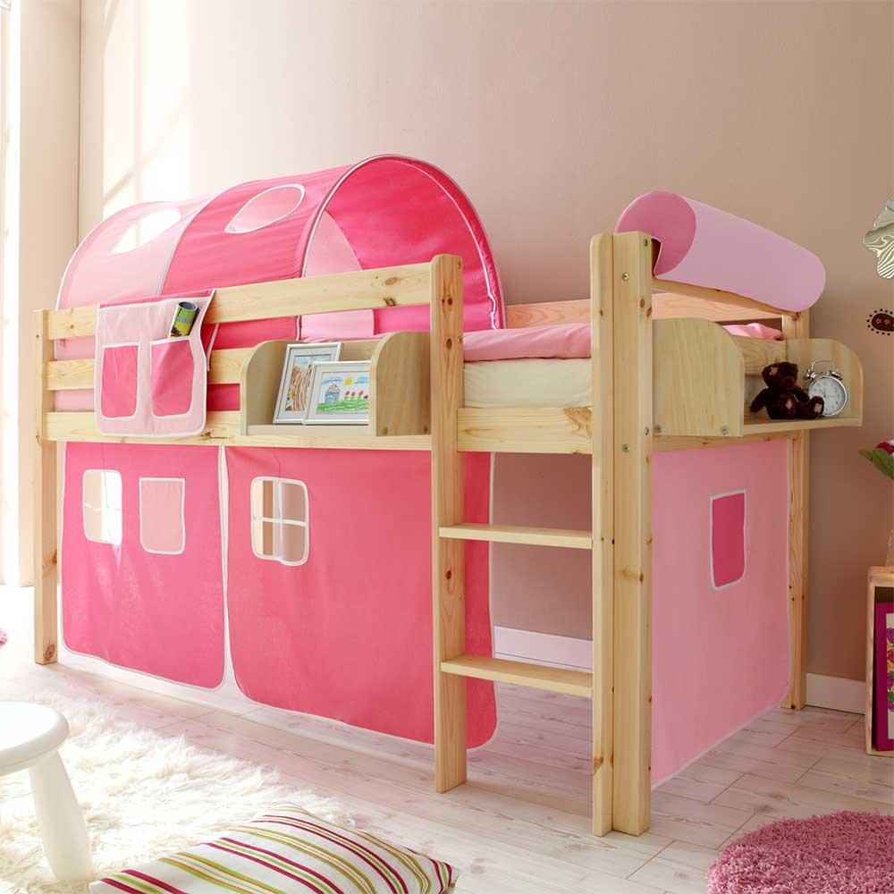 Pharao24 Hochbett für Kinder Tunnel und Vorhang in Pink Rosa Hängeregal Nein