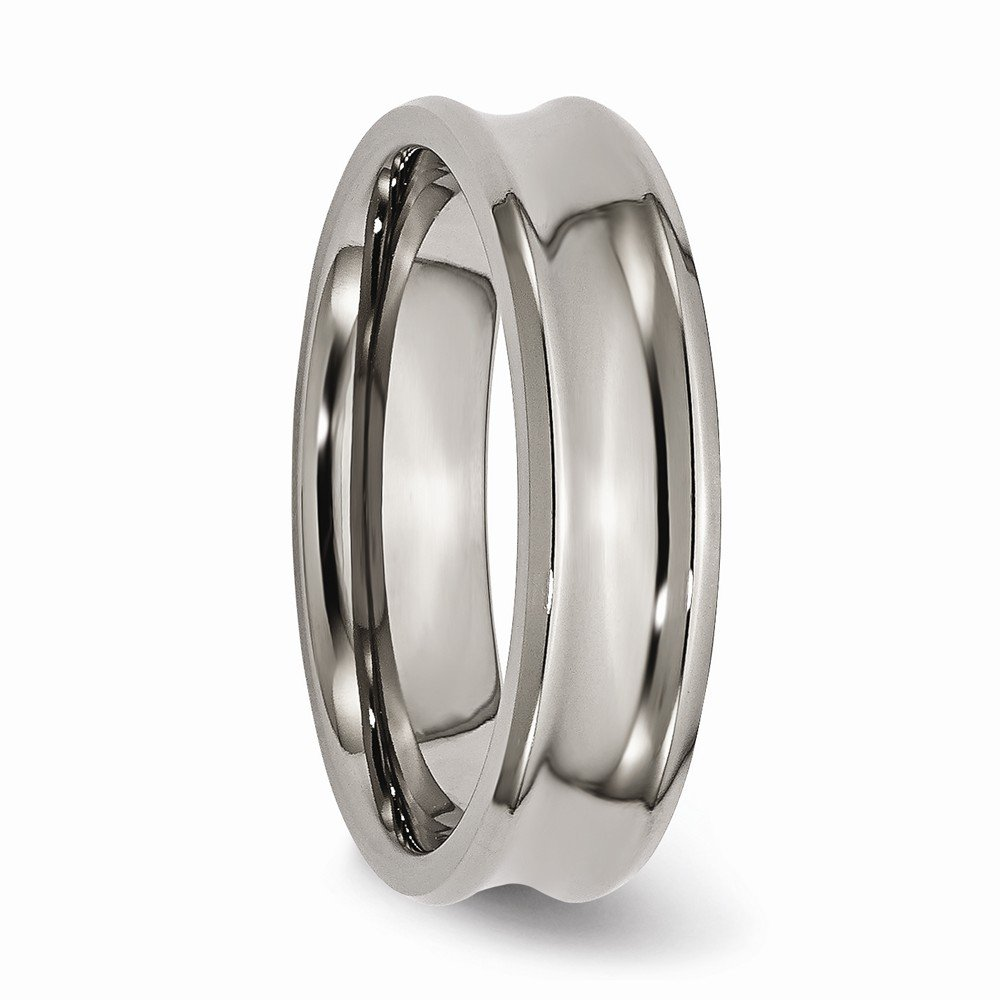 Wedding Bands Classic Bands Concave Bands Titanium Concave 6mm Polished Beveled Edge Band Size 9
