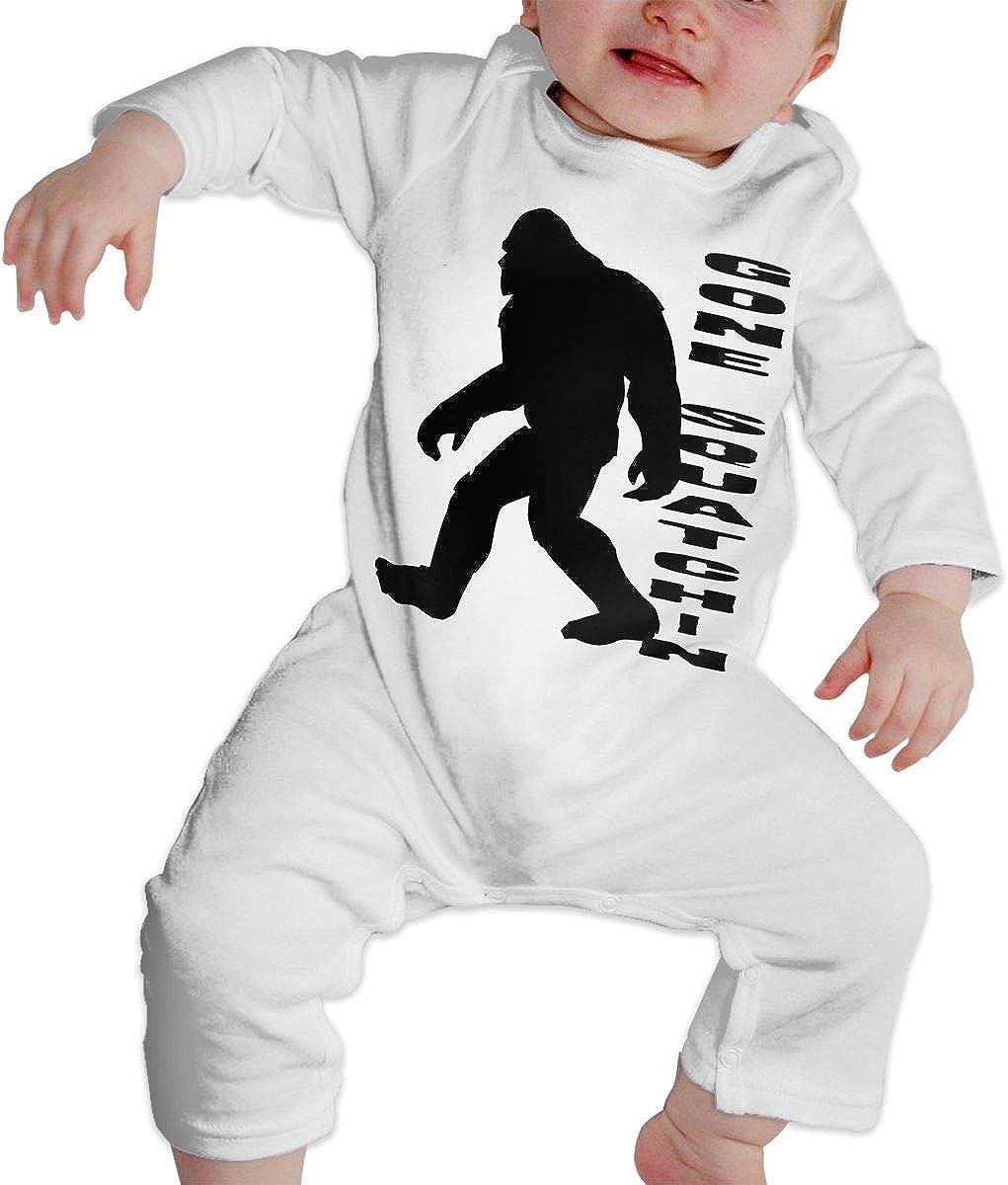 YELTY6F Gone Squatchin Bigfoot Sasquatch Squatch Printed Newborn Infant Baby Boy Girl Bodysuit Long Sleeve Outfits White