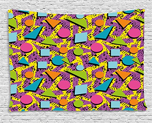 Ambesonne Vintage Tapestry, Funky Geometric 80s Memphis Fashion Style Colorful Figures Pop Art Inspired Pattern, Wall Hanging for Bedroom Living Room Dorm, 60 W X 40 L Inches, Purple Yellow