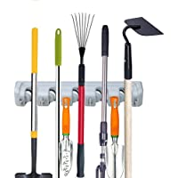 Toplife Mop Broom Holder,Home Tools Wall Mounted Organizer Saving Space Storage Rack for Kitchen Garden and Garage(5 Position with 6 Hooks),Gray