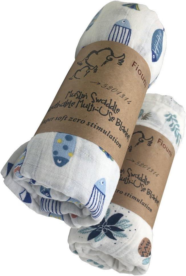 2 mantas de muselina para bebé recién nacido, unisex, 120 x 120 cm (diseño de flores y peces)
