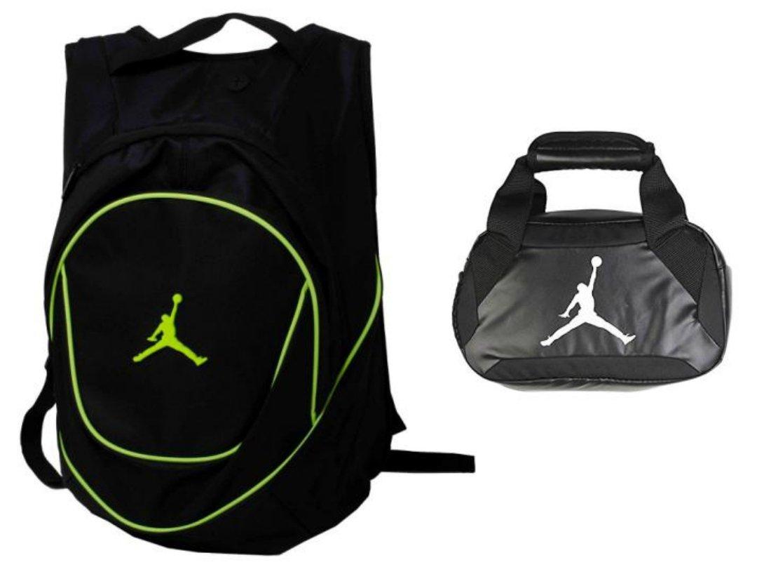Nike Air Jordan Jumpman Backpack & Insulated Trainer Lunch Tote Bag Set + FREE Cell Phone Dust Plug (Green/Black)