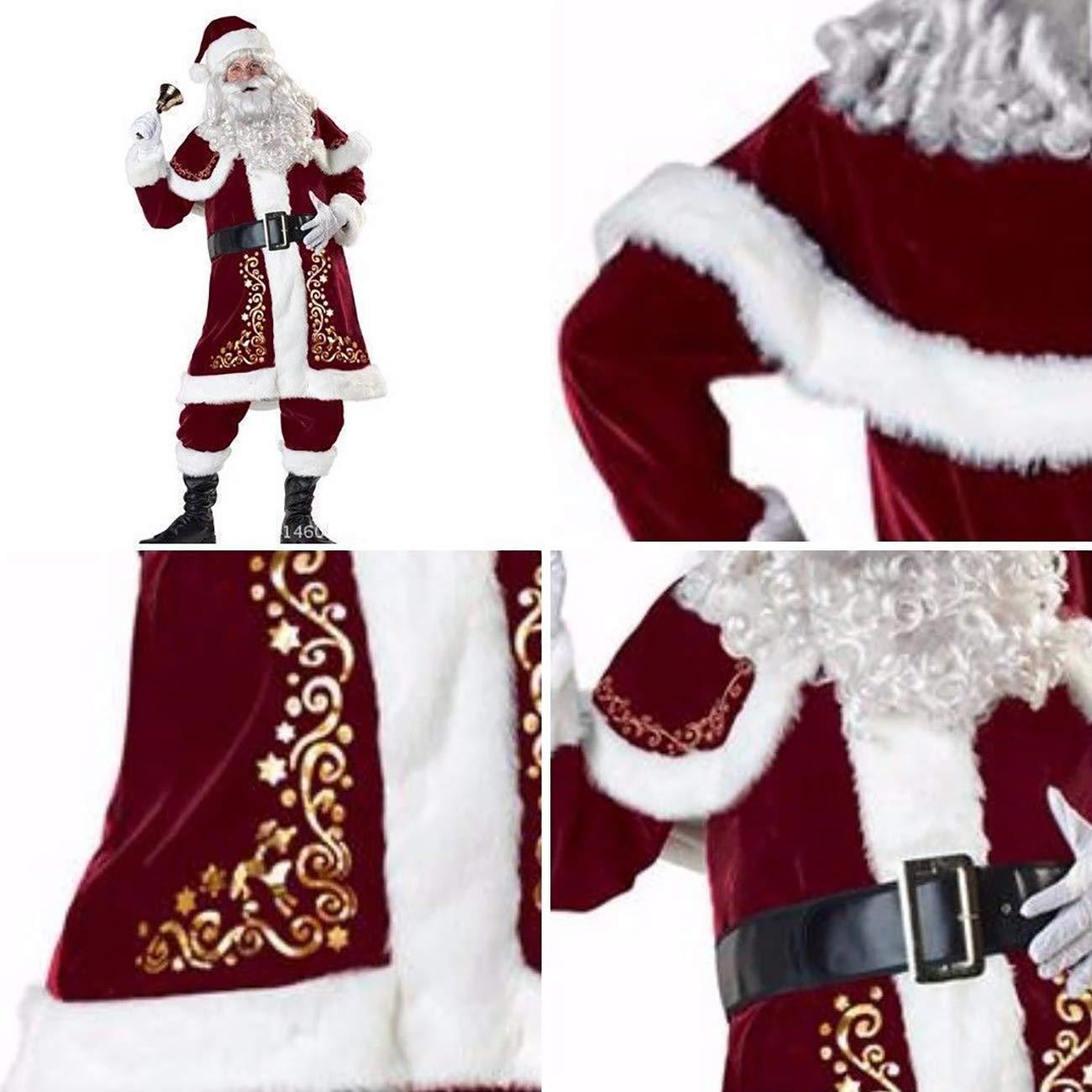 Uheng Mens Deluxe Santa Suit 7PCS Christmas Velvet Adult Santa Claus Costume Cosplay Outfit