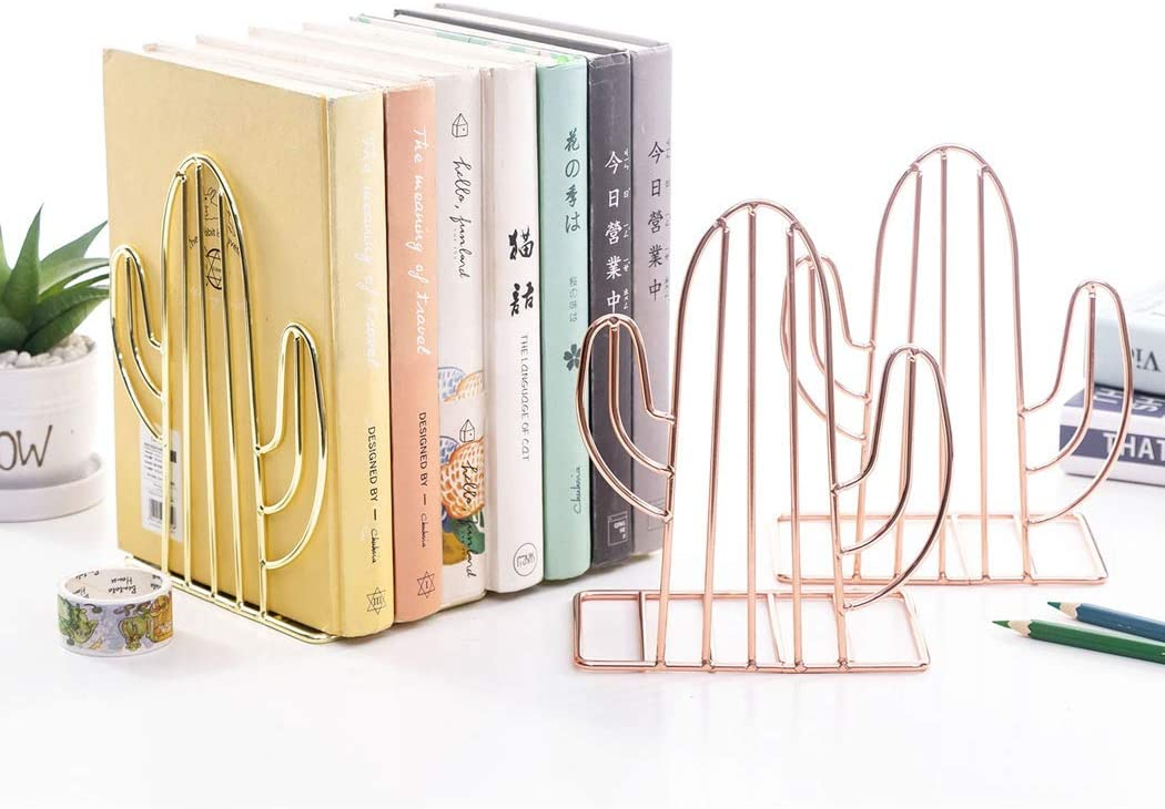 Love SIPLIV Creative Minimalist Style Bookends Metal Adjustable Books Holder Stand Book Rack Desk Bookend Gold