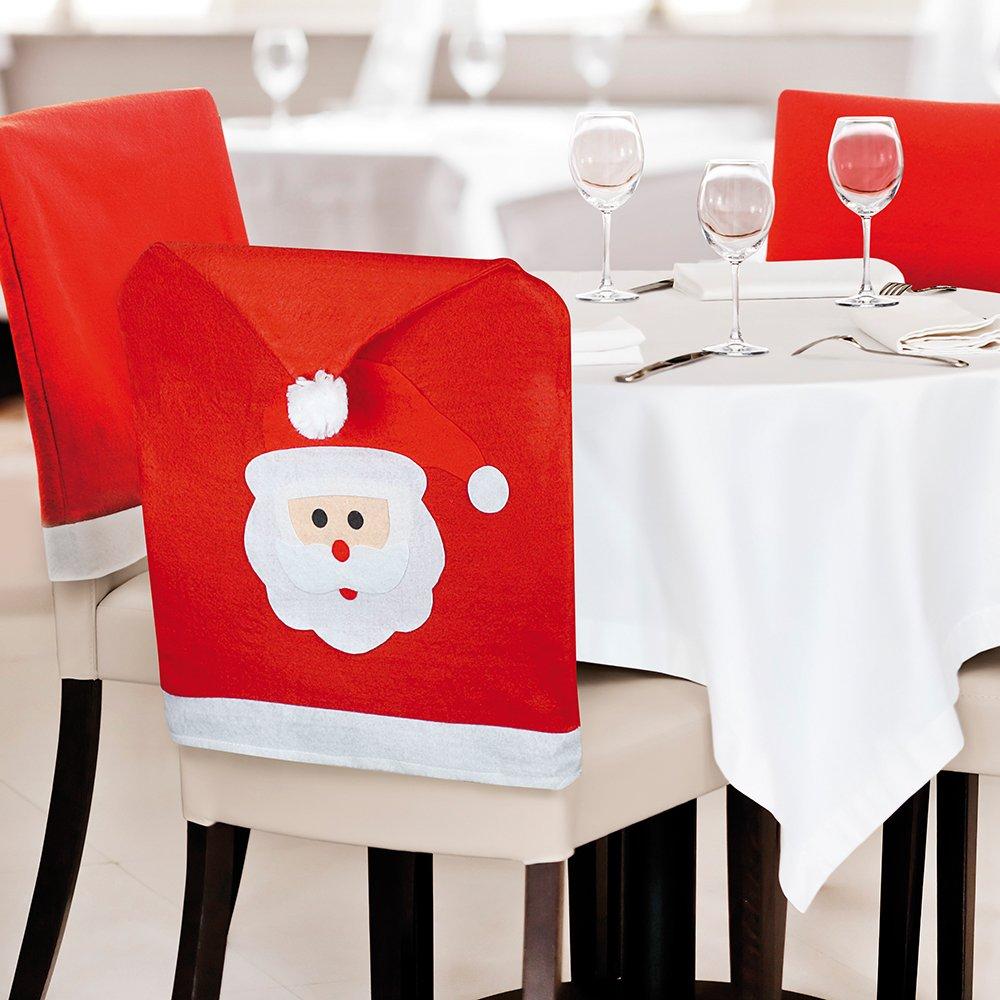 Ebuygb Faccia di Babbo Natale Cappello Sedia Posteriore Covers-Christmas Decorazioni da tavola (6), x 20, Feltro, Rosso, 31.19 x 24.21 x 8.79 cm 31.19x 24.21x 8.79cm 1309305d-6