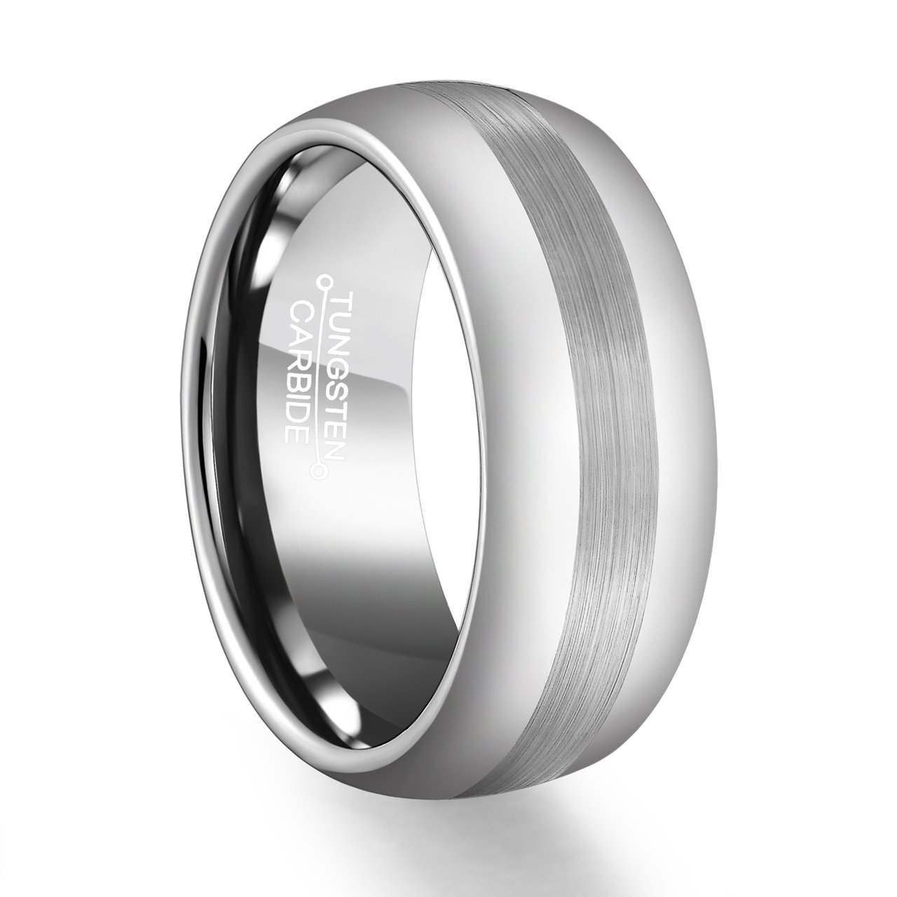 FCL Tungsten Carbide Ring 8mm Men Matte Brushed Center Band Size 7-13