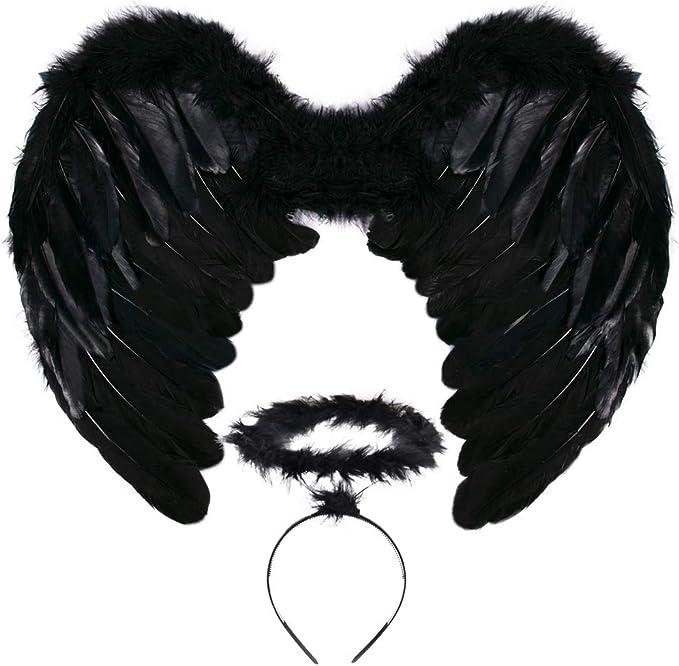 HALO /& TUTU DARK FALLEN ANGEL HALLOWEEN FANCY DRESS COSTUME BLACK ANGEL WINGS