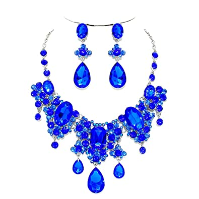 ced685f0856f32 Amazon.com: Royal Blue Ab Rhinestone Crystal Cascade Statement ...