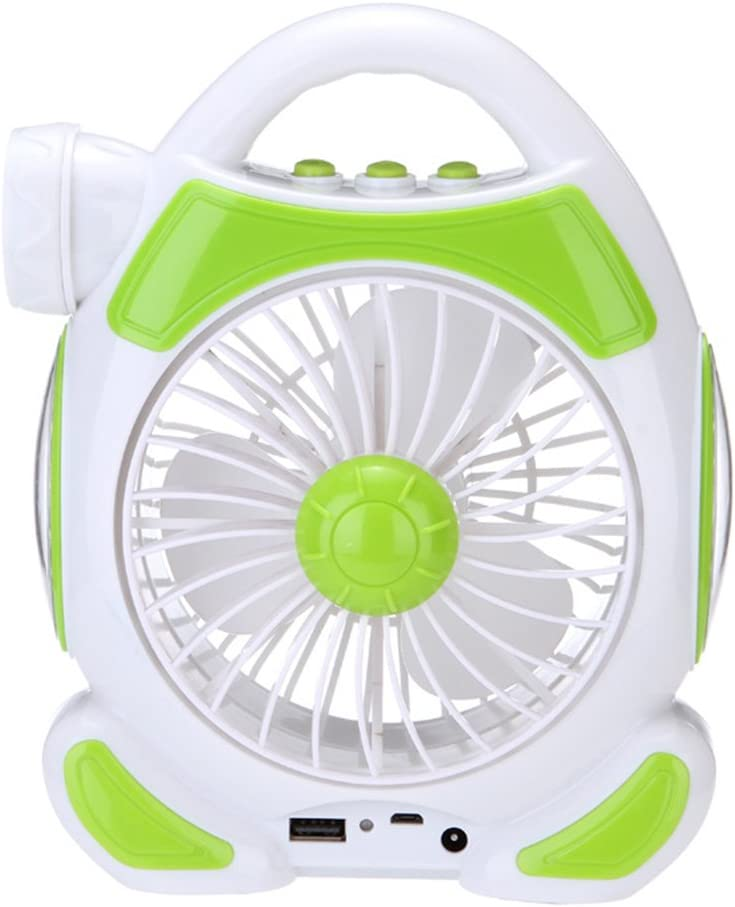 Clock 3 En 1 Multi-Función Mini Fan LED Lámpara De Mesa Linterna USB Luz para Home Camping Fan (Verde)