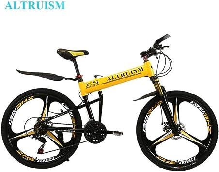 MZLJL montaña de la Bicicleta, X5 Pro Frame 21 Bicicleta Plegable Velocidad de la Bicicleta de montaña de 26 Pulgadas Frenos de Disco Hombre Alto MTB, Amarillas, China: Amazon.es: Deportes y aire