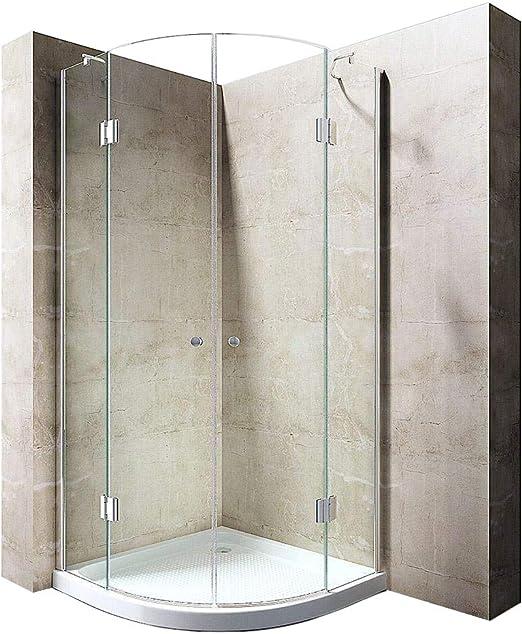 durovin baños Ravenna 2 con bisagras de cristal 8 mm de grosor sin marco ducha almacenaje transparente puerta sólo fácil de limpiar, 800 x 800 mm (bandeja de piedra), transparente, Door: 800mm