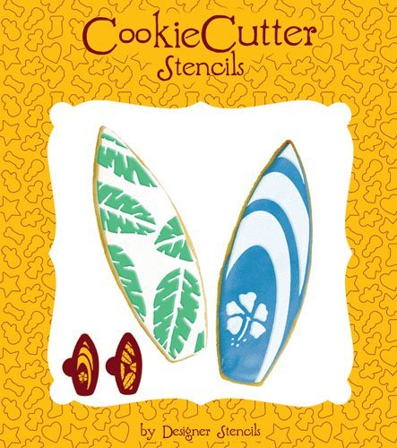 Surfboard Cookie Stencil Set (no cutter) by Designer Stencils by Designer Stencils