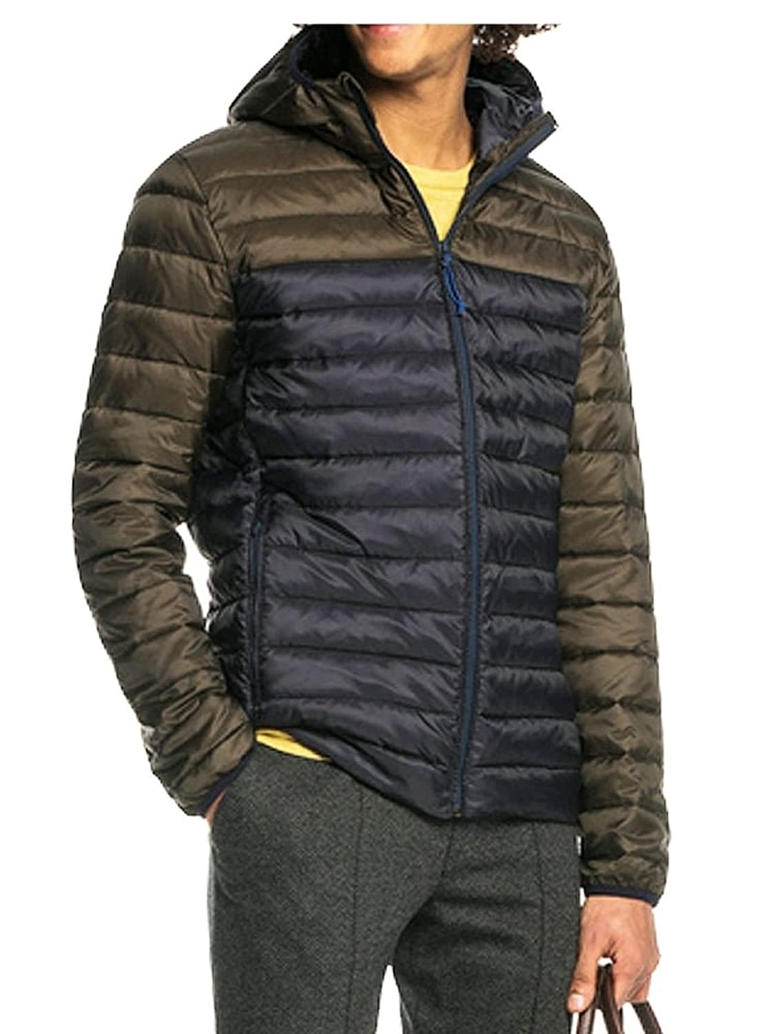 SCOTCH AND SODA Quilted Hooded Jacket Navy/khaki