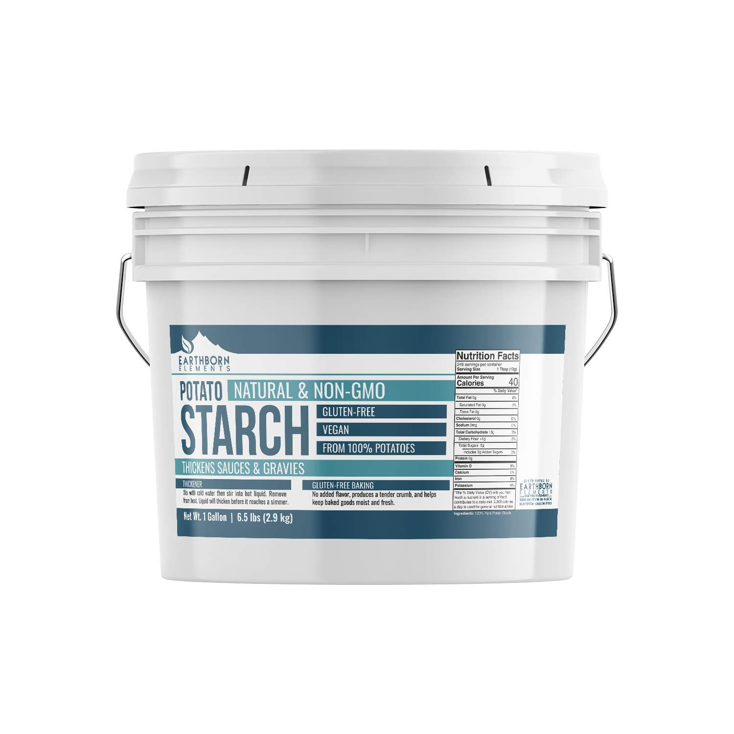 Potato Starch (1 gallon (6.5 lbs.)) by Earthborn Elements, Resealable bucket, Gluten-Free, NON-GMO, All-Natural, Thickener For Sauces, Soup, & Gravy, No Added Preservatives Or Artificial Ingredients by Earthborn Elements